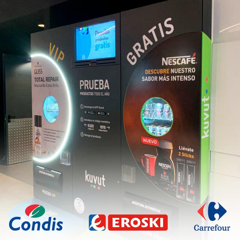 Sampling en máquinas en centros comerciales Barcelona y Madrid