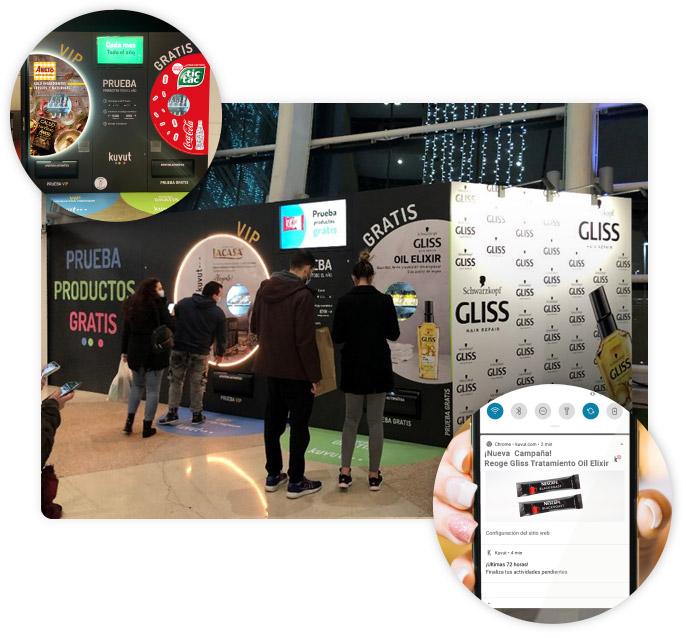 Sampling con Máquinas Kuvut en centros comerciales de Madrid y Barcelona